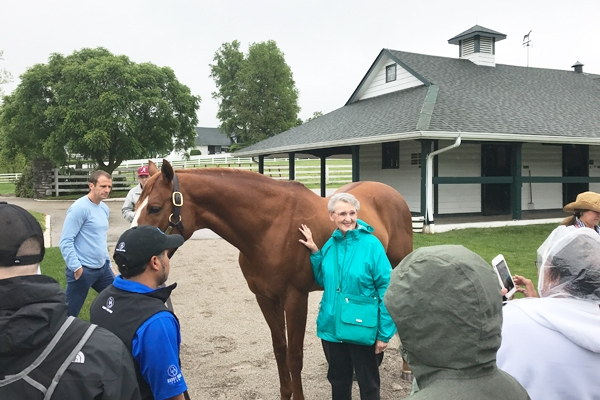 Derby fan touring a horse farm in Lexington