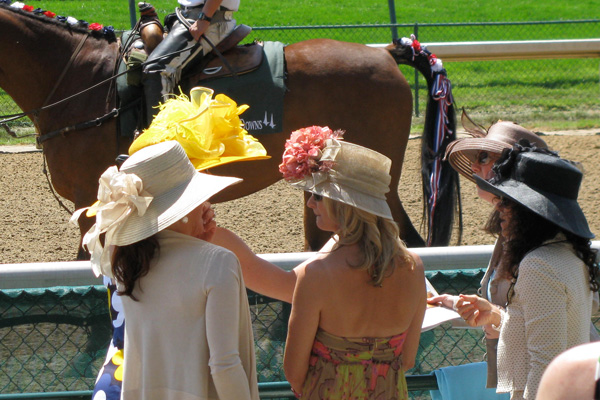 Women wearing their Kentucky Derby hats
